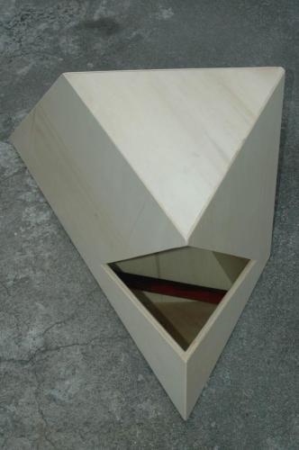 Revérbero XI, 2010, choupo, espelho e óleo sobre papel, 40 x 94 x 50 cm