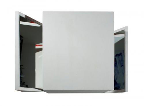 Reverbero VI, 2008, madeira de choupo, espelho, spray  e óleo s/papel, 34 x 55 x 35 cm