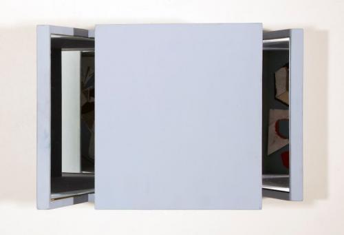 Reverbero VII, 2008, madeira de choupo, espelho, caneta, pastel de óleo s/papel, 31 x 47 x 22 cm