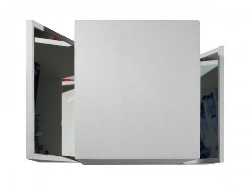 Revérbero VI, 2008, madeira de choupo, espelho, spray e óleo s/papel, 34 x 55 35 cm