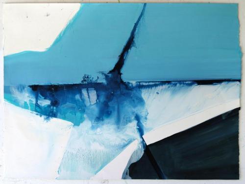 Fusão em Azul, 2012, Óleo s/papel 71 x 94 cm
