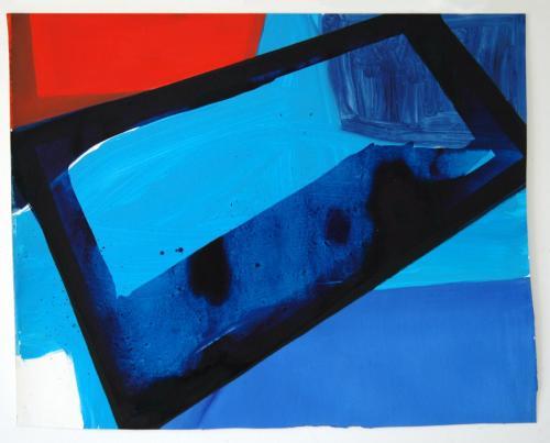 Azul Especular, 2012, Óleo s/papel, 69 x 86 cm