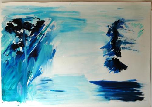 reflexo (turvo) da luz #5, Óleo s/papel, 102 x 140 cm