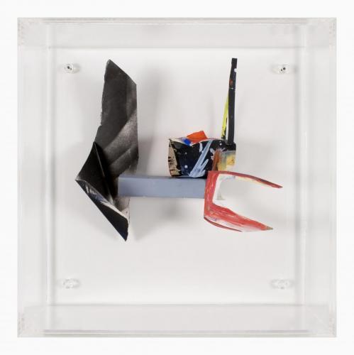 Espaço Rarefeito, 2007, Papel, acrílico, spray e tinta de óleo, 40 x 40 x 5 cm