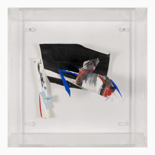 Espaço Rarefeito 4 , 2007, Papel, acrílico, guache e tinta de óleo, 40 x 40 x 5 cm