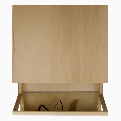 Revérbero , 2007, madeira, espelho, spray e óleo sobre papel, 36 x 3 x 0 cm