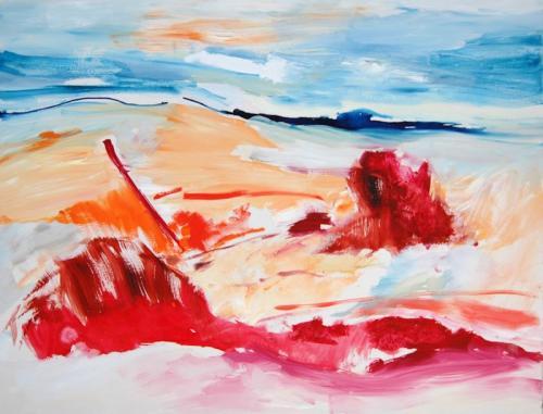 da vida das dunas # 11, Óleo s/madeira okoumé, 114 x 146 cm